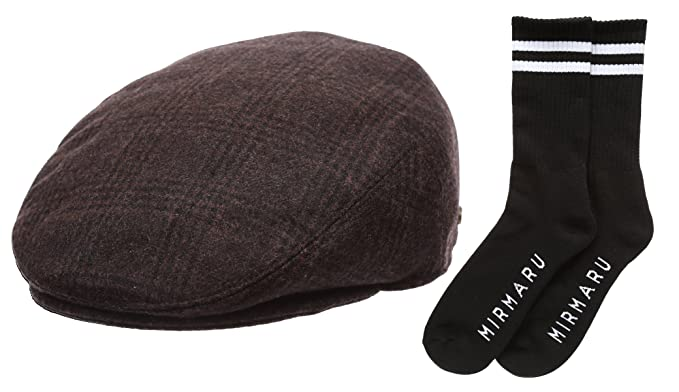 3c878d145 Epoch Men's Winter Collection Wool Plaid Flat Newsboy Ivy Hat with Socks.