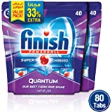 Finish Dishwasher Detergent Tablets, Quantum Max, 80 tabs (Pack of 2)