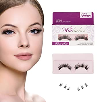 6cba549a8c0 Mas-Lashes Korean Silk Black 3D Magnetic False Eyelashes triple single  magnets Reusable No Glue