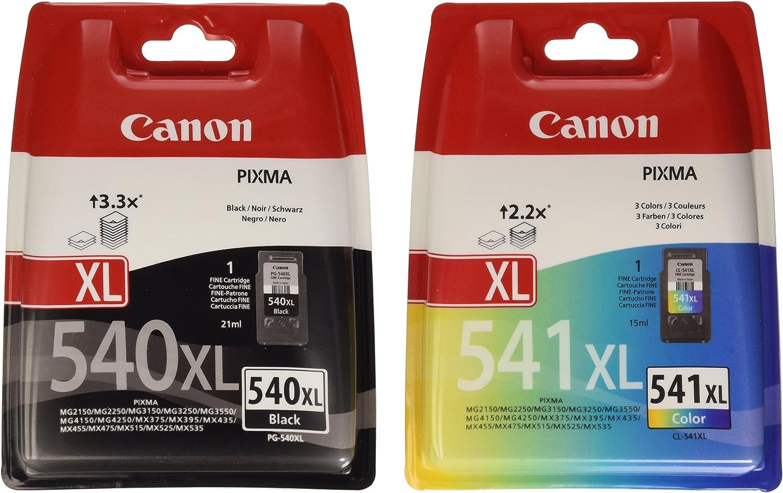 Canon PG-540XL+CL-541XL Cartucho de tinta original Negro XL y Tricolor XL para Impresora de Inyeccion de tinta Pixma TS5150-TS5051-MX375-MX395-MX435-MX455-MX475-MX515-MX525-MX535-MG2150-MG2250-MG3150-