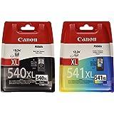 Canon PG-540XL+CL-541XL Cartucho de tinta original Negro XL y Tricolor XL para Impresora de Inyeccion de tinta Pixma TS5150-TS5051-MX375-MX395-MX435-MX455-MX475-MX515-MX525-MX535-MG2150-MG2250-MG3150-MG3250-MG3550-MG3650-MG4150-MG4250