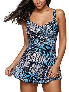 646ce7d789 American Trends Women's Retro Pantskirt Swimdress One 2 Piece Swimsuits  Printed Plus Size Swimwear Tankini Bathing