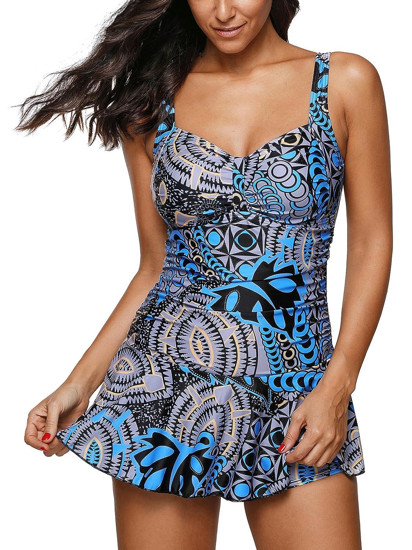 9e2c5d369ee Zando Women Swimdress Printed One Piece Swim Dresses Swimwear Slimming  Skirt Swimsuits Bathing Suits Dress Floral Blue 2XL (US 16-18)