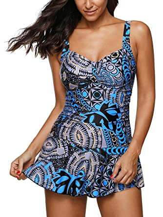 552c3444ff421 Image Unavailable. Image not available for. Color: Zando Women Swimdress  Printed One Piece Swim Dresses Swimwear Slimming Skirt Swimsuits Bathing  Suits ...