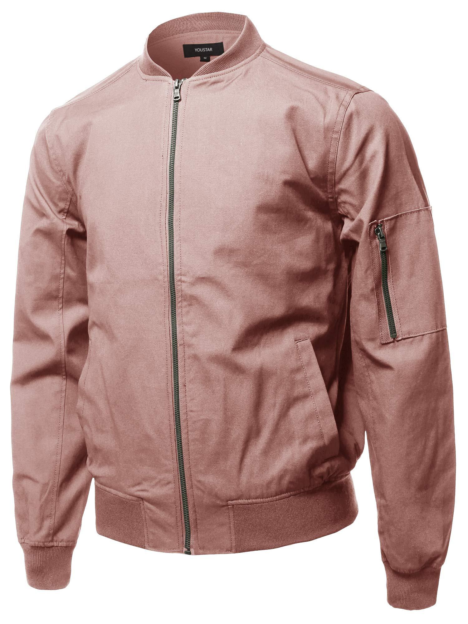 Youstar Casual Basic Style Zip Up Sleeve Pocket Bomber Jacket Dark Rose Size M by Youstar