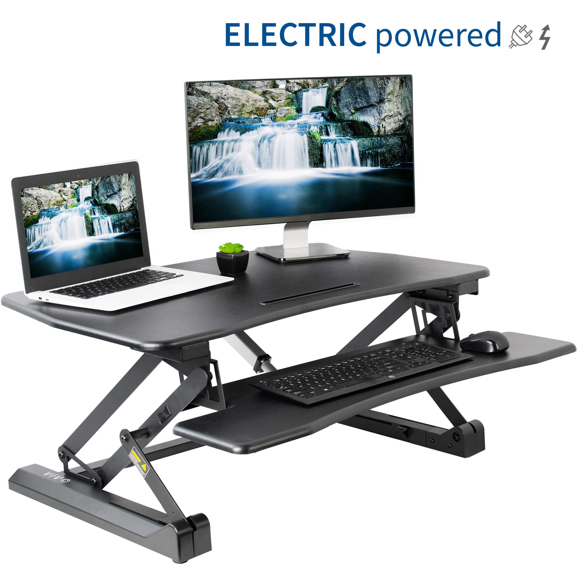 VIVO Electric Height Adjustable Standing Desk Converter - Sit to Stand Power Riser   36'' Black Tabletop Workstation fits Dual Monitor (DESK-V000EB)