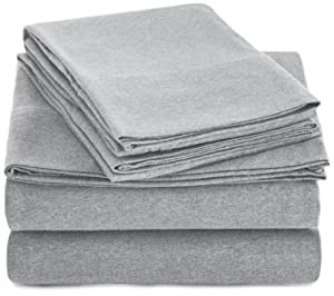 AmazonBasics Heather Jersey Sheet Set - King, Light Gray