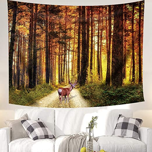 Sunshine Forest Tapestry Art Wall Hanging Sofa Table Cover Home Decor