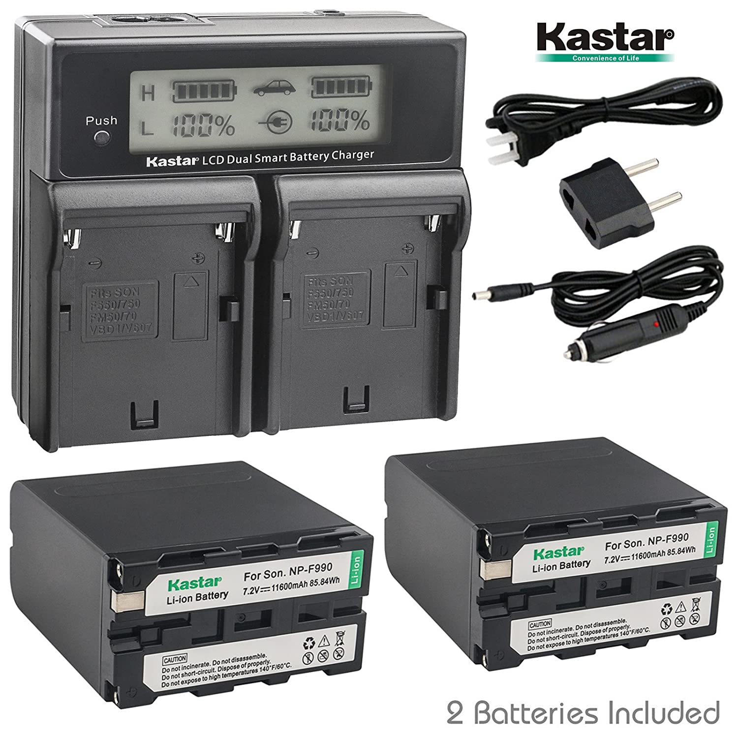 Kastar充電器、バッテリーfor np-f990 – 2 np-f990 F990 B075G5DSZZ  1 LCD dual fast charger + 2 batteries