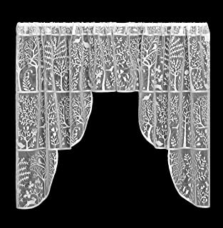 """product image for Heritage Lace Rabbit Hollow Pair Swag, 72"""" by 39"""", White"""