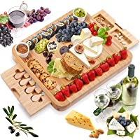 MOSONIC Bamboo Cheese Board and Knife Set 13 x 16 Inch - Charcuterie Boards Meat Charcuttery Platter Serving Tray Extra…