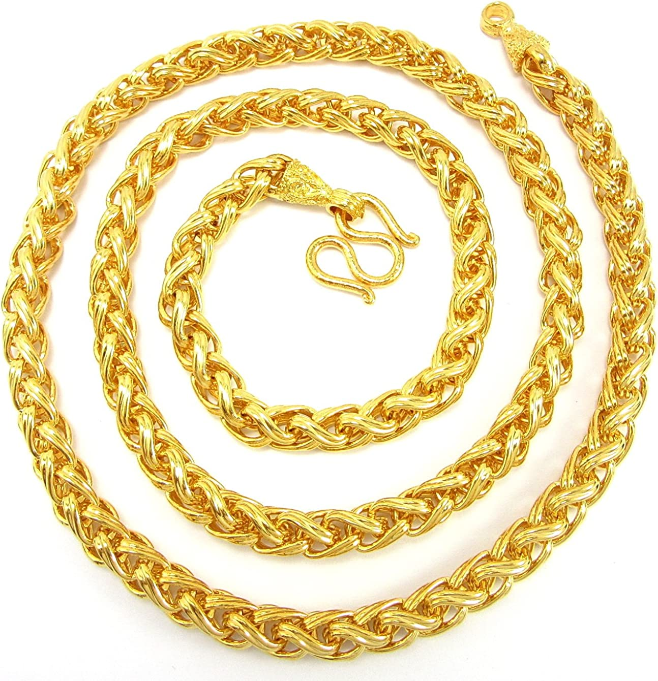 Bangkok Bazaar Awesome Men Baht Chain 26 inch 24k Gold Plated Thai Necklace Jewelry Thailand