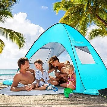 WolfWise Pop up Strandmuschel Strandzelt Baby Strand UV-Schutz 50 Extra Light Automatisches Familie Sonnenschutz Sonnenschirm Windschutz Strand Tragbar Wurfzelt mit Ausziehbarer Boden