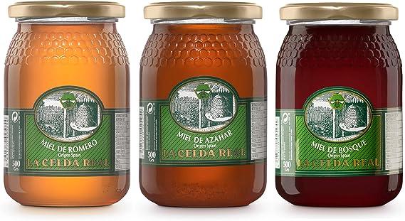 La Celda Real - 1,5 kg Miel Natural - Pack 3 sabores: Miel Romero + Miel Azahar + Miel de Bosque - 100% Natural - Tarro de cristal - Origen España: Amazon.es: Alimentación y bebidas