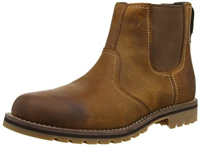 89bf8801fc42 Timberland Mens Larchmont Chelsea Brown Leather Boots 7.5 US