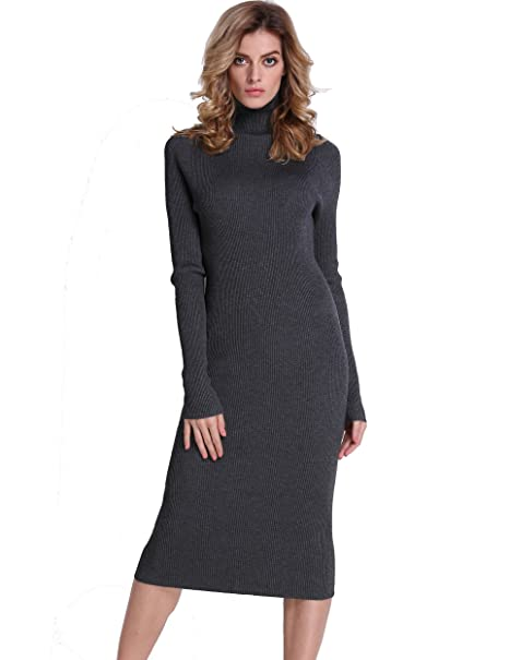 ce323d210c0 PrettyGuide Women Slim Fit Ribbed Turtleneck Long Sleeve Midi Length  Sweater Dress Gray XS