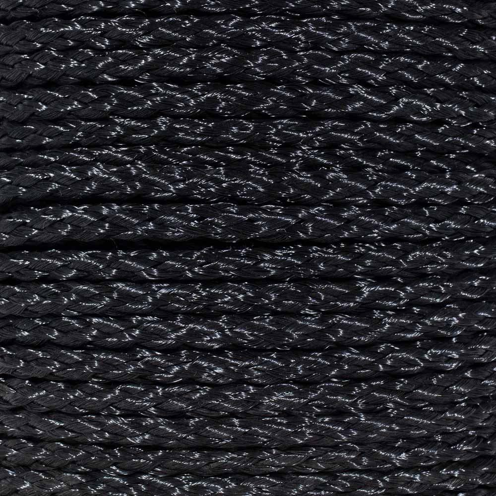 1//2 Inch 50 Feet Hollow Braid Polypropylene Rope in Black