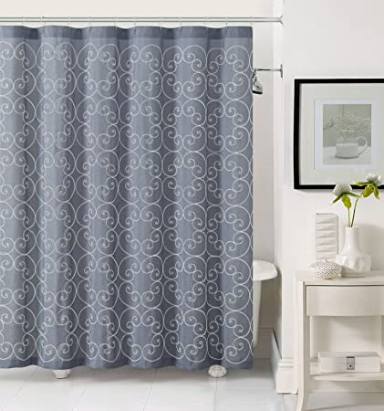 Amazon Fabric Shower Curtain With White Embroidered Swirl