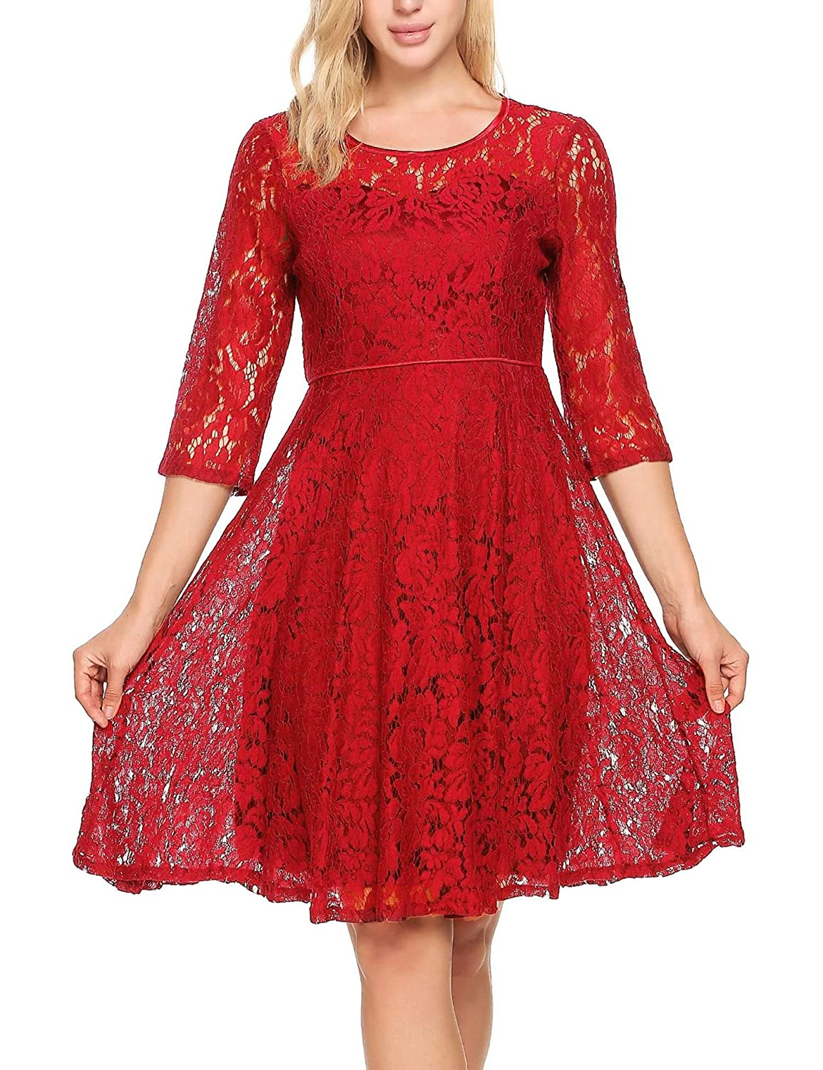Meaneor Women 3/4 Sleeve Round Neck Floral Lace Swing Cocktail Party Mini Dress #MAH011707