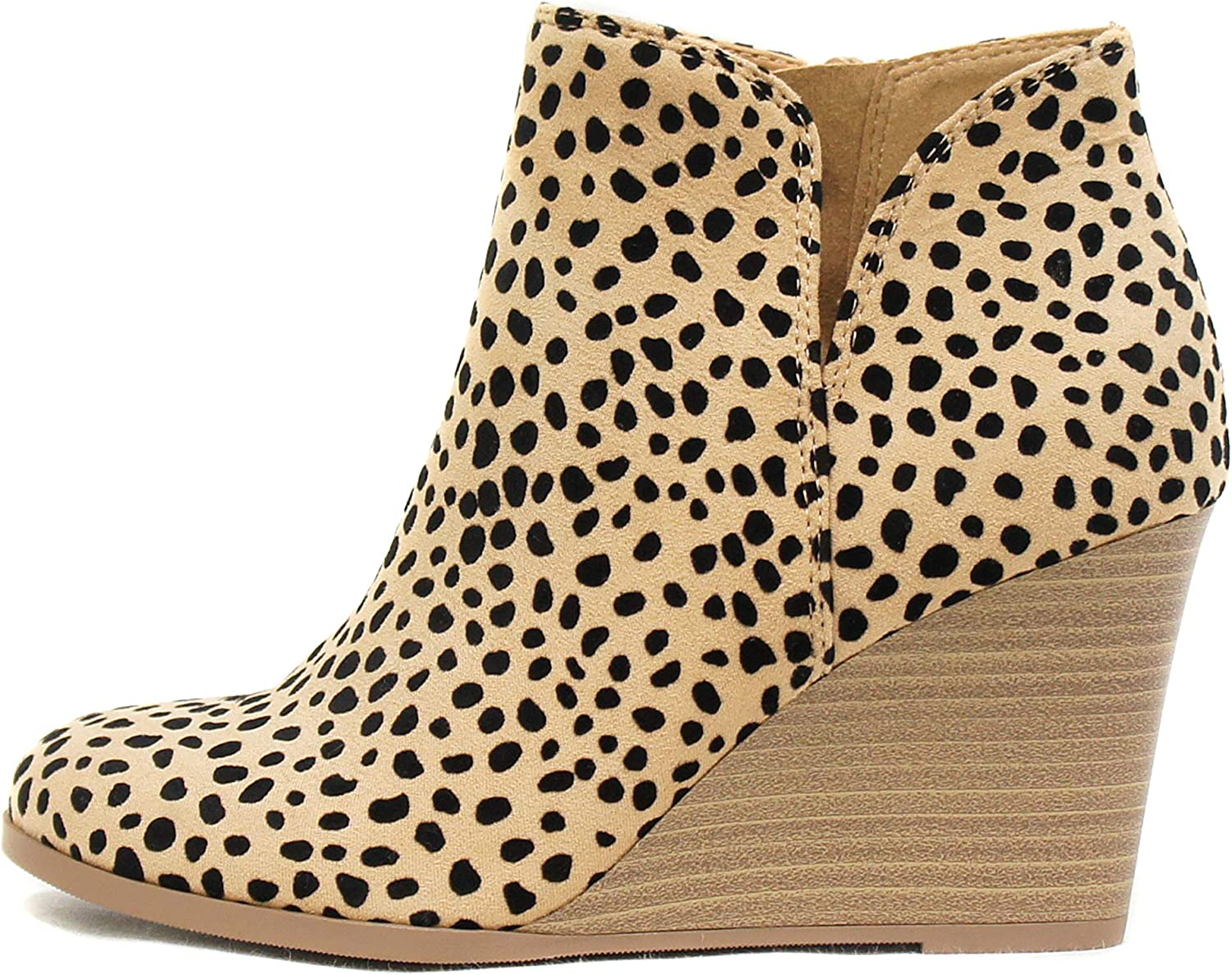 Soda Ability - Mid Ankle Bootie w/Split Shaft and Zipper Stacked Wedge Heel