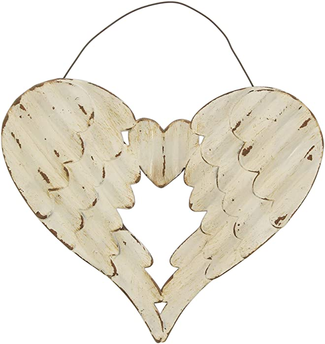 """The Bridge Collection Distressed Metal Angel Wings Wall Decor, 8"""""""