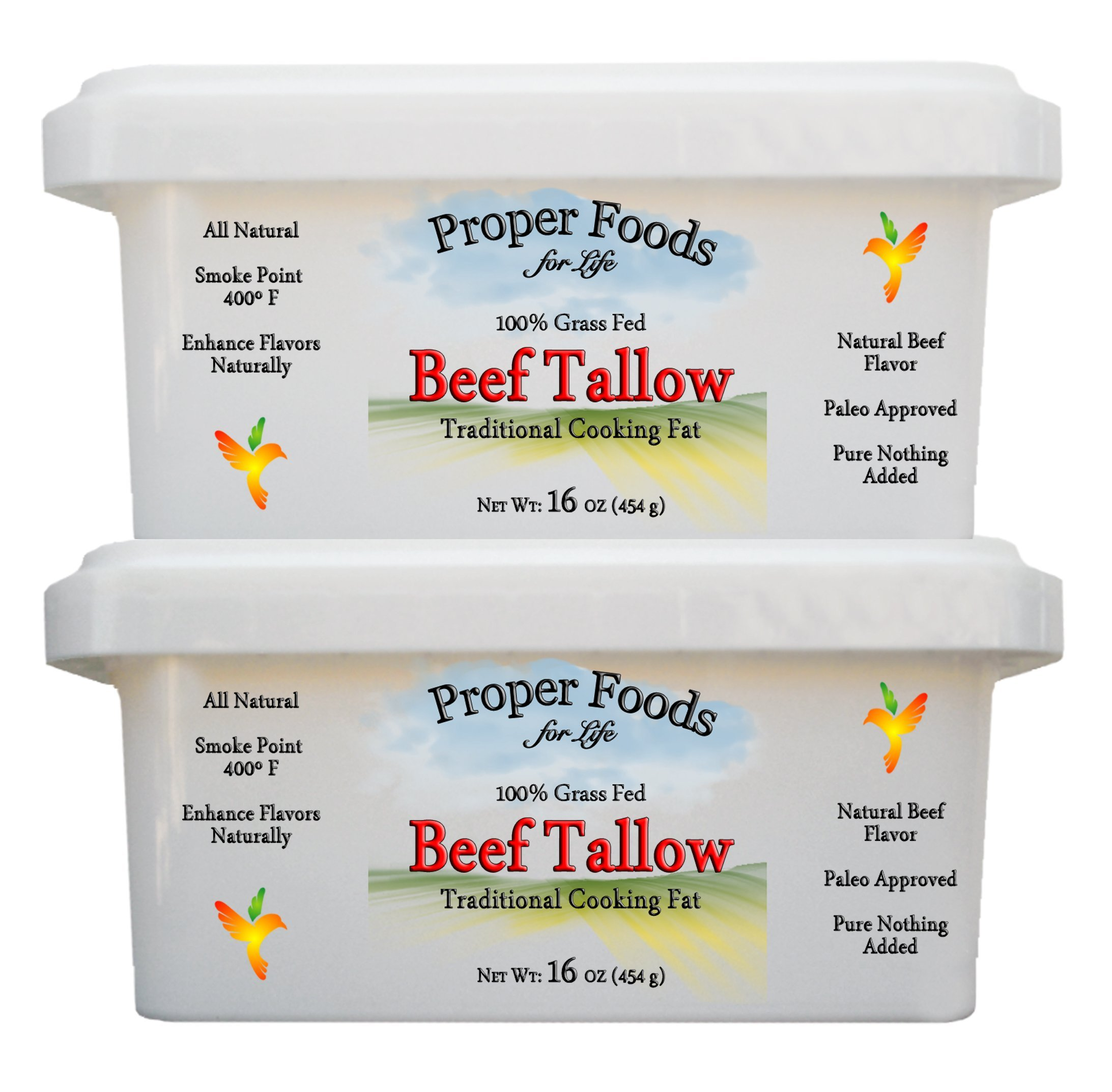 Proper Foods 100% Grass-Fed Beef Tallow, Cooking & Baking, 16 oz (Pack of 2) by Proper Foods For Life (Image #2)