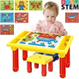 HAPTIME Creative Brick Puzzle Table with 1 Toddler Chair, 735 Pieces Mosaic Puzzles, Educational Building Blocks Bricks…