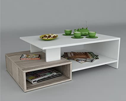 Tavolino basso da salotto POT- Bianco / Avola - materiale in legno ...