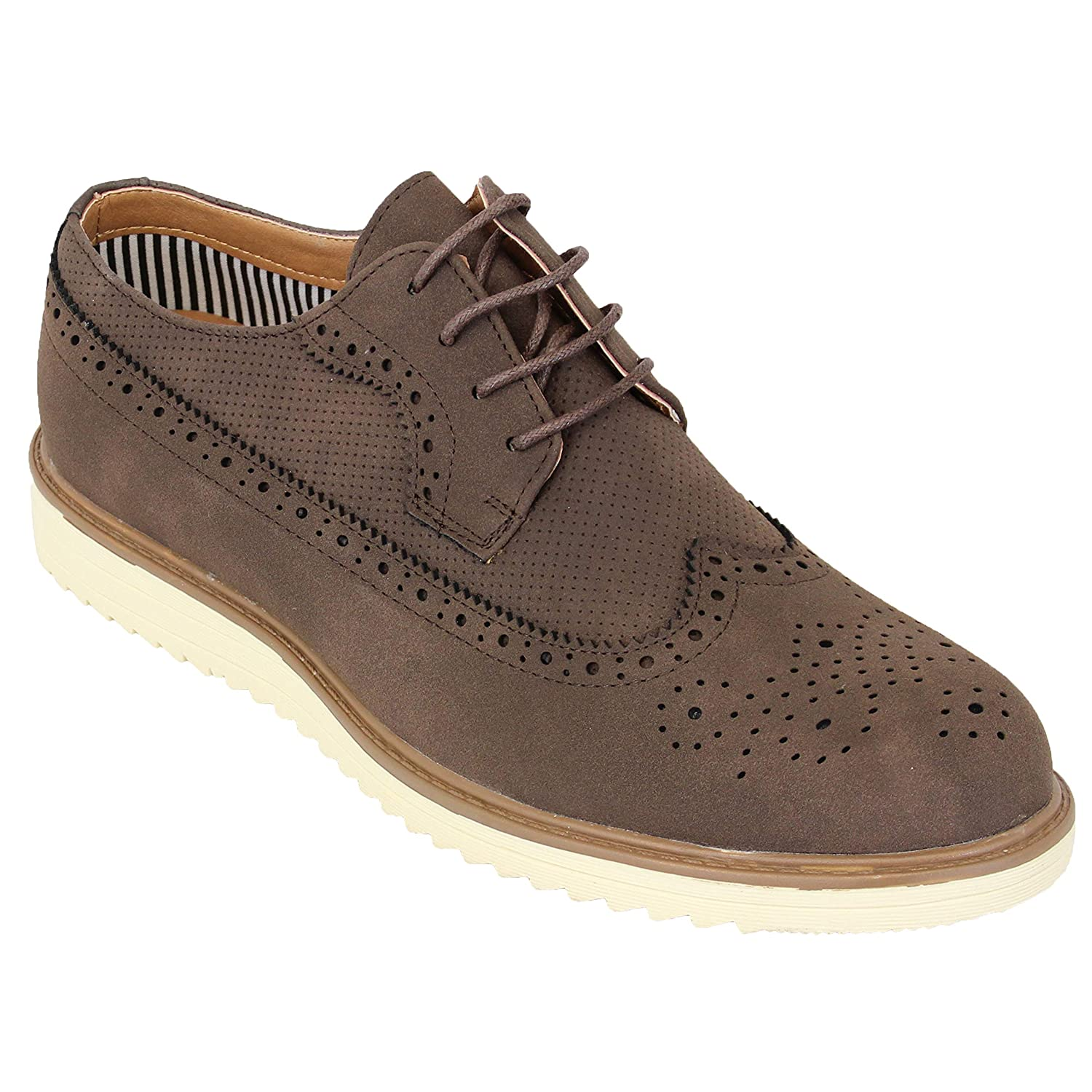 Belide Mens Brogue Boots Leather Suede Look Lace Up Formal