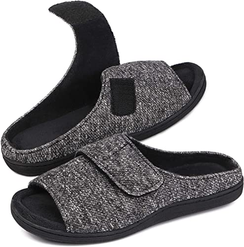 Snug Leaves Mens Adjustable Wrap Memory Foam Slide Slippers