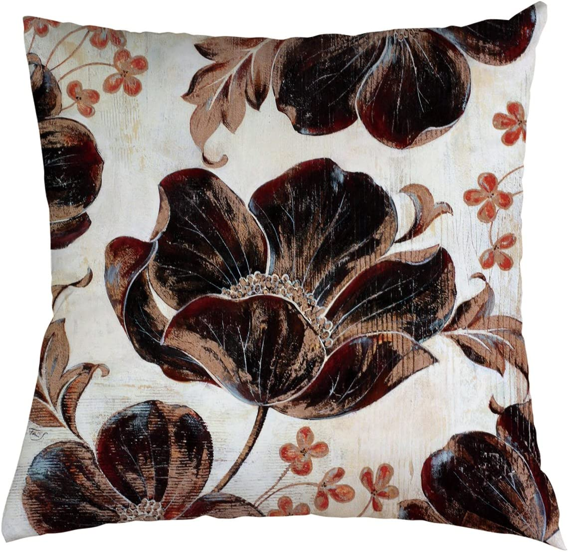 Amazon Com Flower Throw Pillow Cover Beautiful Flower Retro Black Flower Background For Couch Sofa Bed Car Seats Home Decorative Throw Pillow Case 16 X16 Home Kitchen