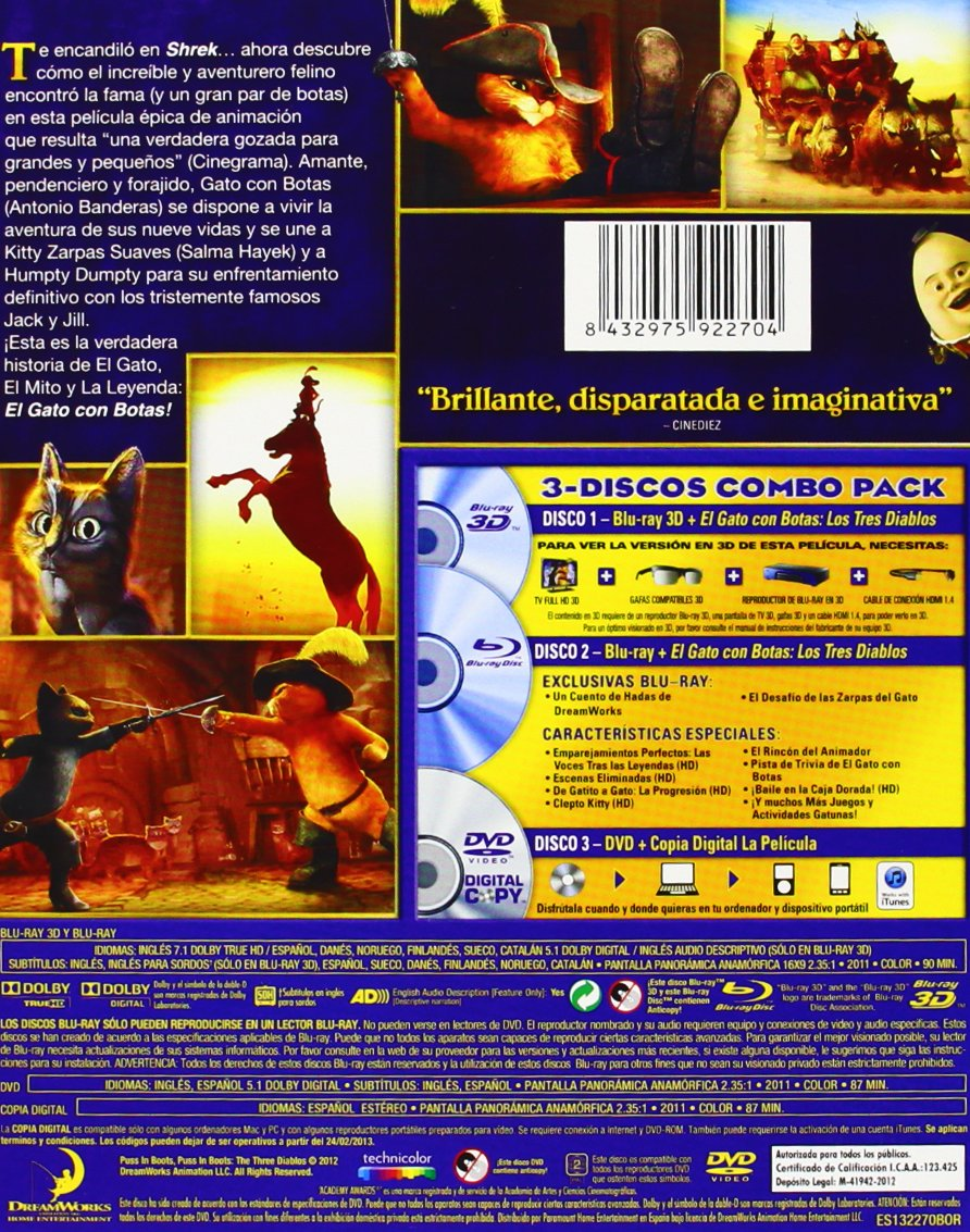 Amazon.com: El Gato Con Botas (Blu-Ray Combo Superset Y Copia Digital) [Blu-Ray] [Blu-Ray: Movies & TV