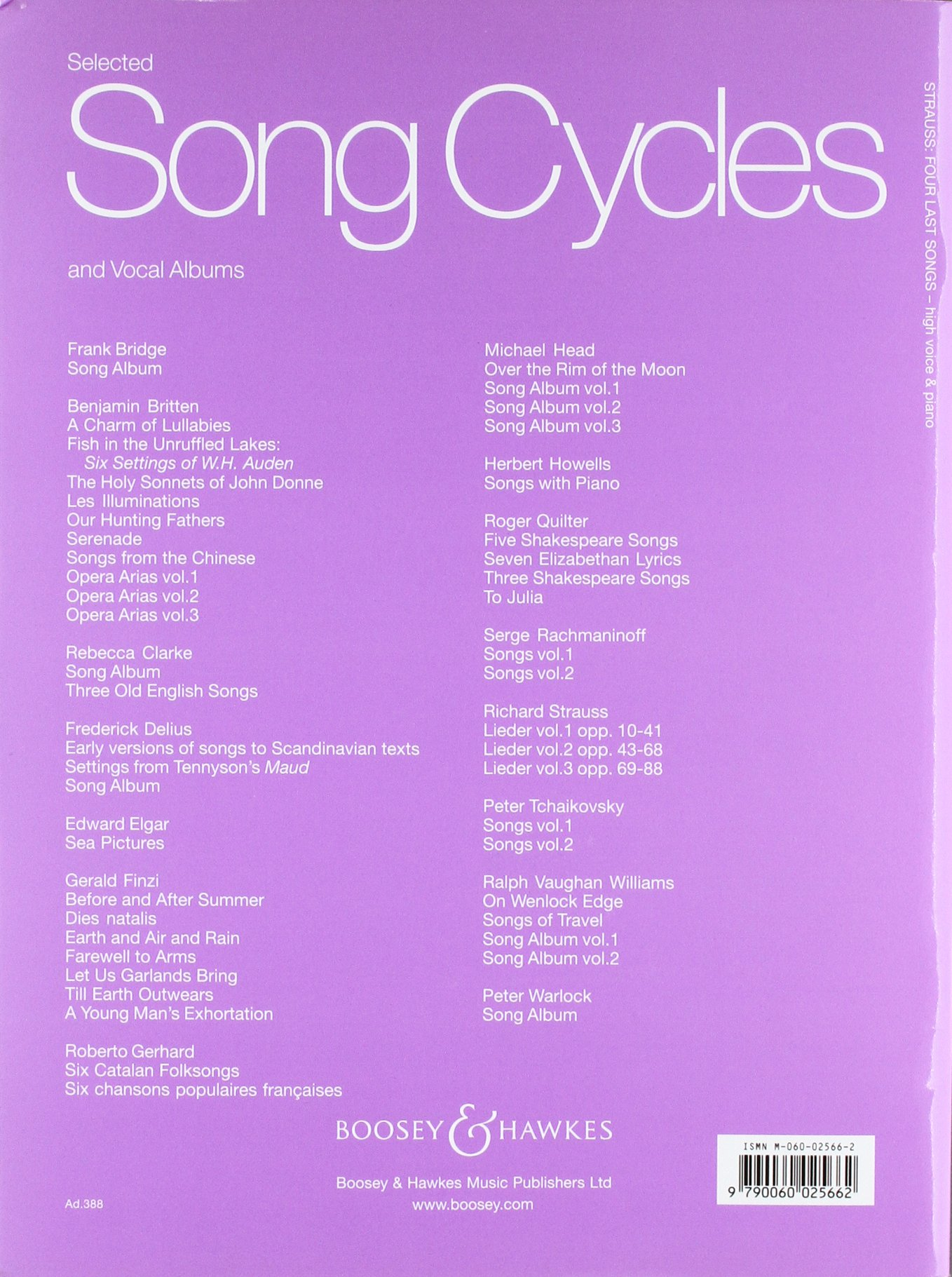 Vier letzte Lieder: o. Op. AV 150. hohe Singstimme und Orchester. Klavierauszug mit Solostimme. Musiknoten – 1. Januar 2009 Richard Strauss Boosey & Hawkes London B00006M1DM