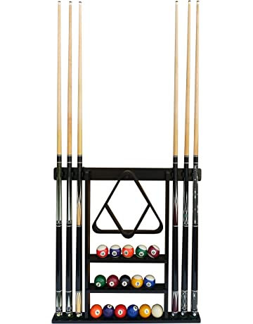 POOL SNOOKER BILLIARD CUE RACK STAND For Pool Table BLACK and Chrome Cue Clips