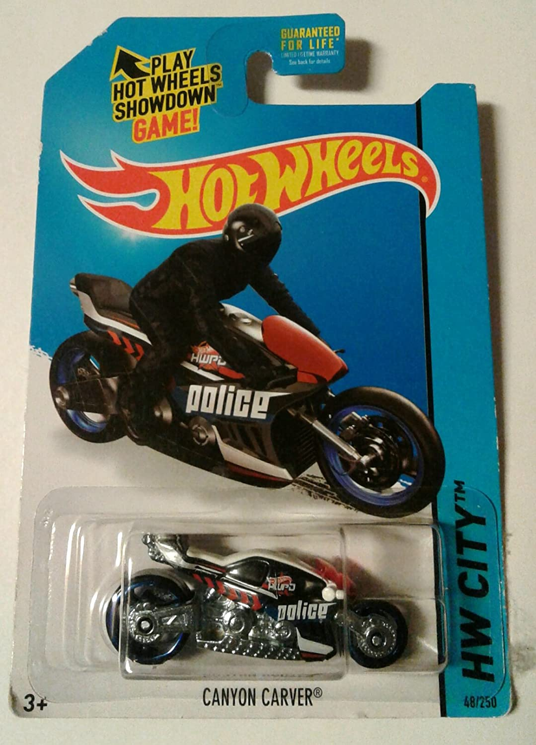 Hw hot wheels 2015 hw city 48 250 canyon carver police motorcycle -