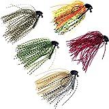 5 Pcs 7g /10g (1/4oz) /( 3/8oz) THKFISH Mixed Colour Fly Rubber Swim Bass Jig Fishing Lures