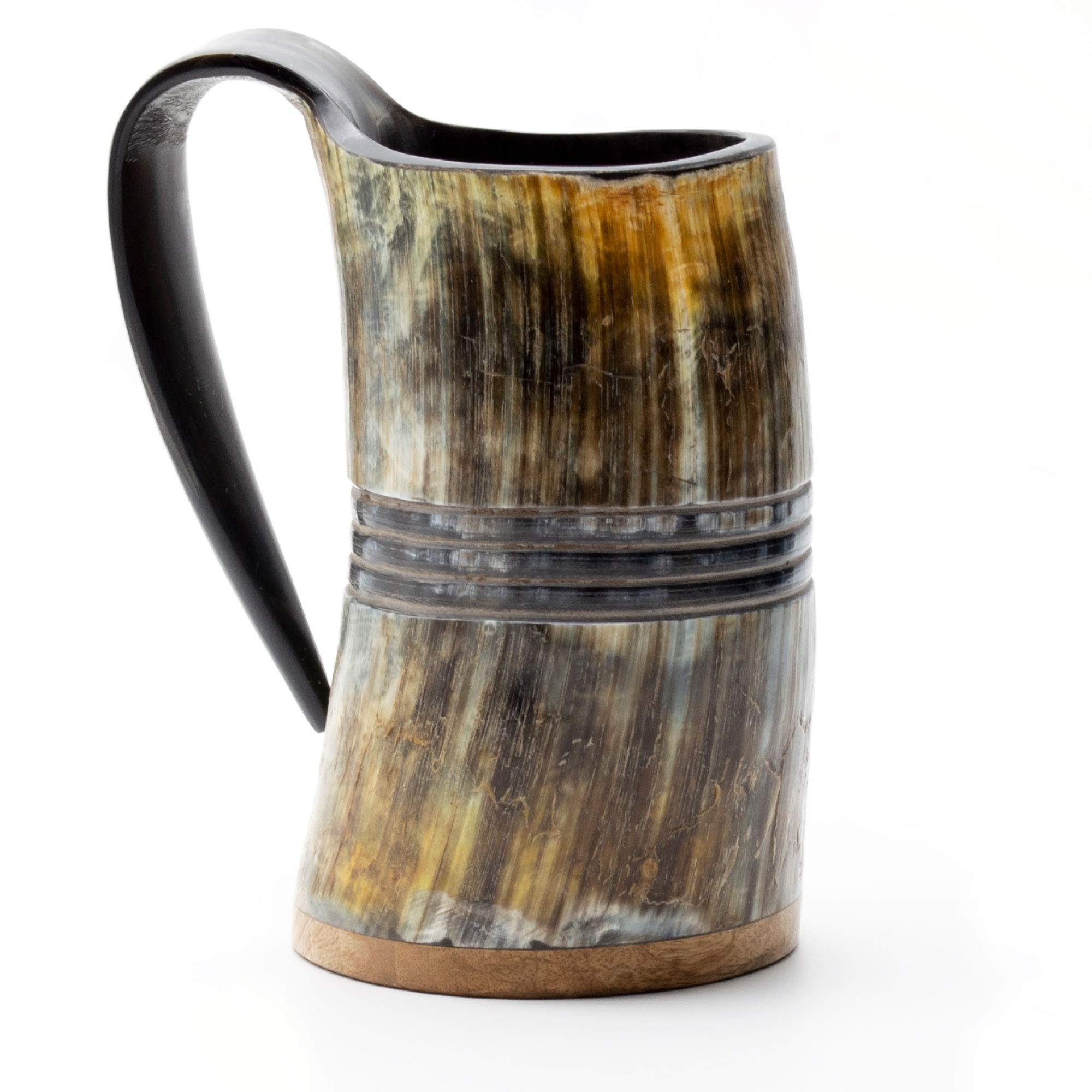 Norse Tradesman Genuine Viking Drinking Horn Mug - 100% Authentic Beer Horn Tankard w/Rosewood Bottom & Ring Engravings |''The Eternal'', Unpolished, Large