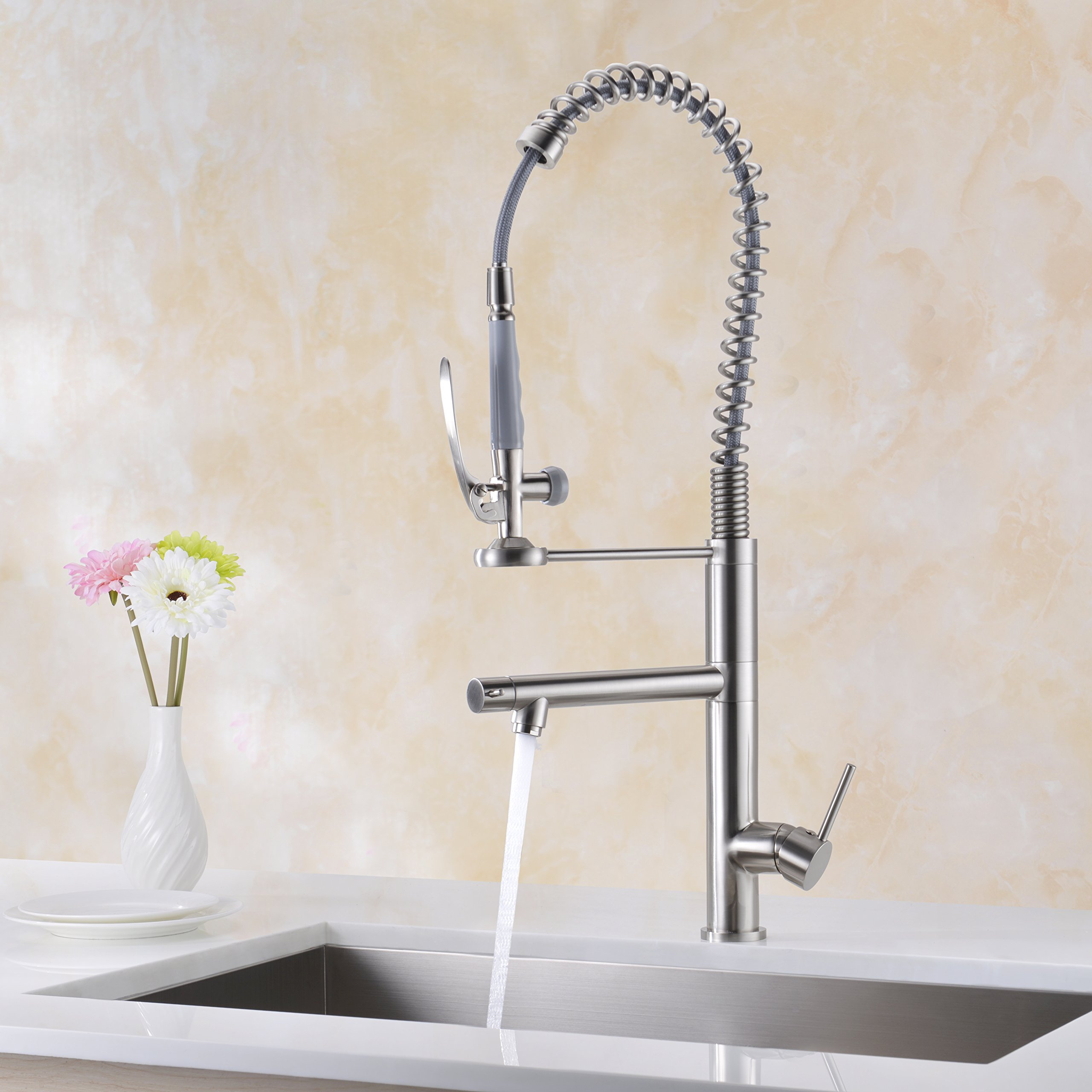 Kitchen Faucet ,WENKEN Brushed Nickel Modern Single Handle Kitchen ...