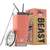 BEAST 30 oz (850ml) Tumbler Stainless Steel Vacuum Insulated Coffee Cup Double Wall Travel Flask with Splash Proof Lid, 2 Straws & Free Cleaning Brush – Premium Quality Gift Bundle by Greens Steel (30oz, Aquamarine Blue)