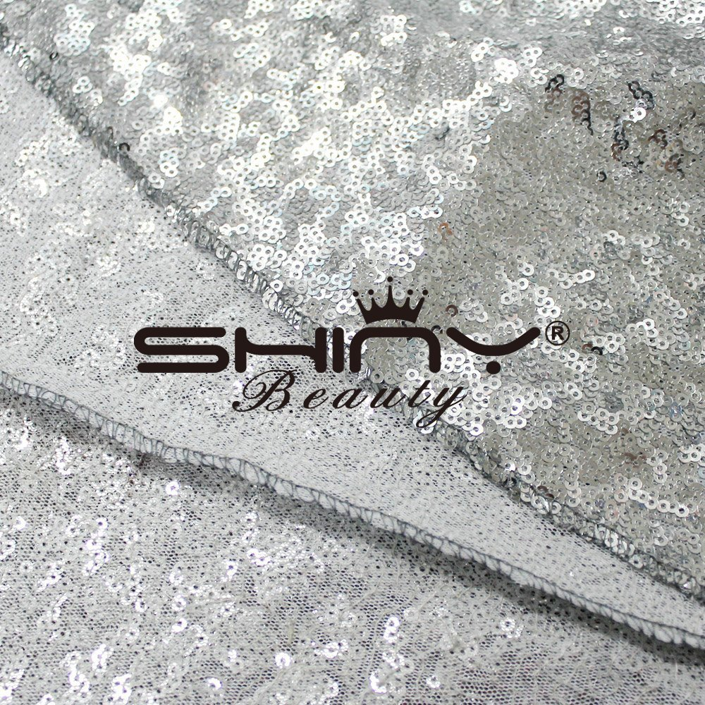 ShinyBeauty Wedding Aisle runner-silver-70ftx4ft Sparkle通路通路ランナー、ランナー、Glitter Glamウェディング、スパンコールデコレーション   B01NBDFQV2
