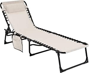 MUPATER 4-Fold Patio Chaise Lounge Chair for Outdoor with Detachable Pocket and Pillow, Portable Sun Lounger Recliner for Beach, Camping and Pool, Cream White