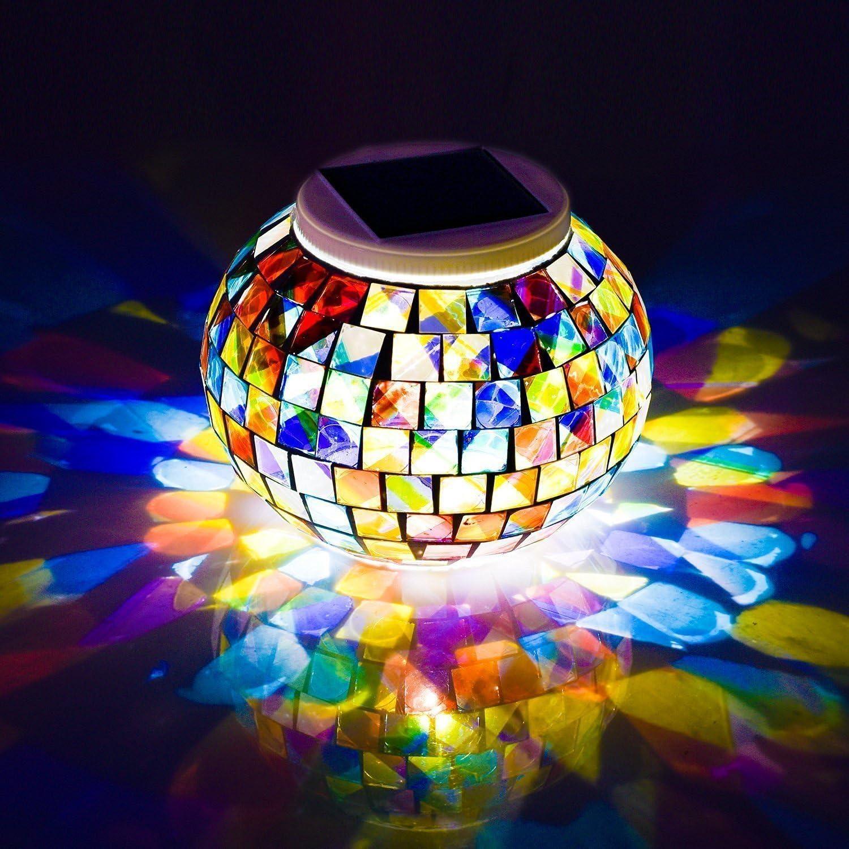 Solar Poweredモザイクガラスボールガーデンライト、夢翼ソーラー夜ライトの色変更、防水充電式ソーラーテーブルデスクライトランプ屋内または屋外のデコレーション