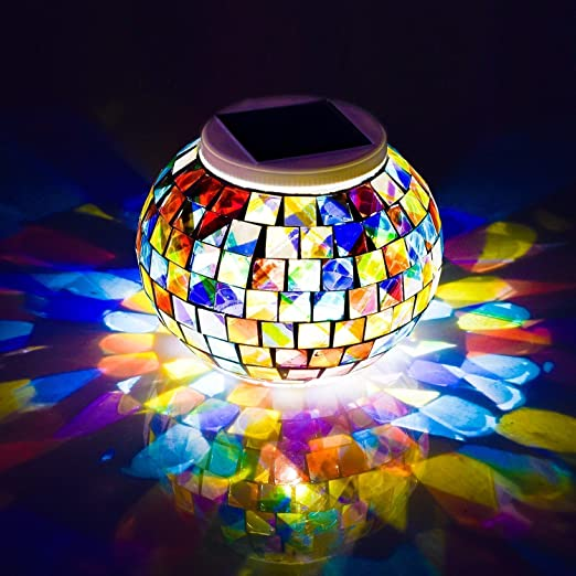 Waterproof Solar Powered Mosaic Lights Color Changing Table Decorative Lamps