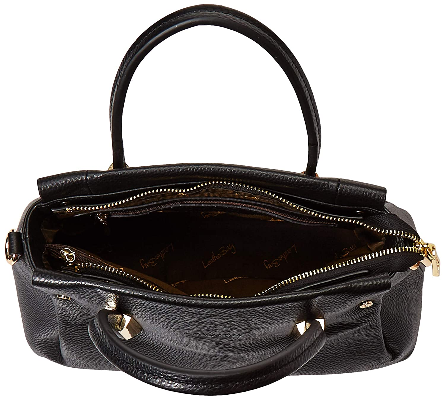 3722f11fd655 Amazon.com: Leatherbay Women's Bellano Handbag/Black Shoulder Bag ...