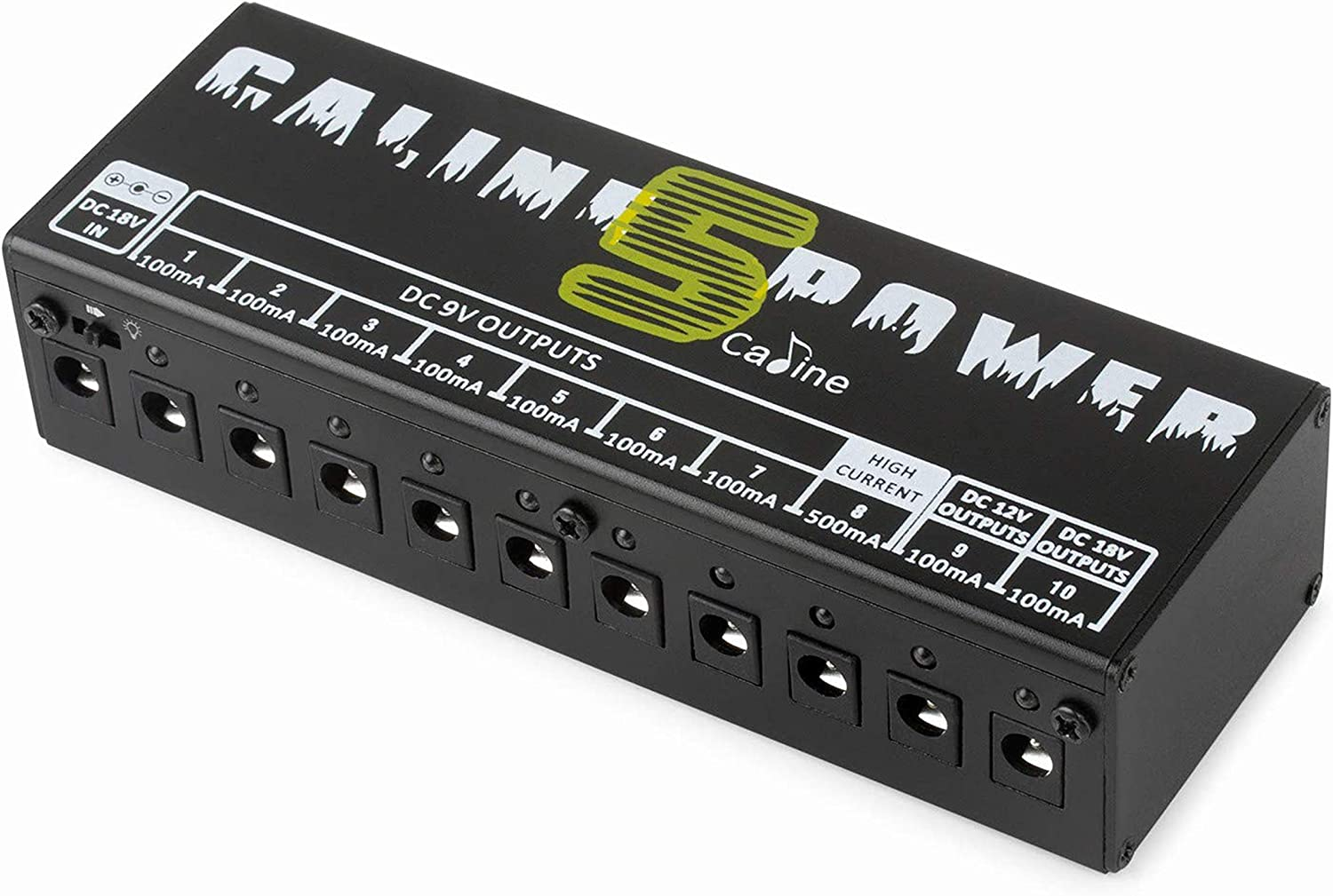 Caline Electric guitar Effect Pedal Board 10 Way Power Supply 9V 12V 18V Output