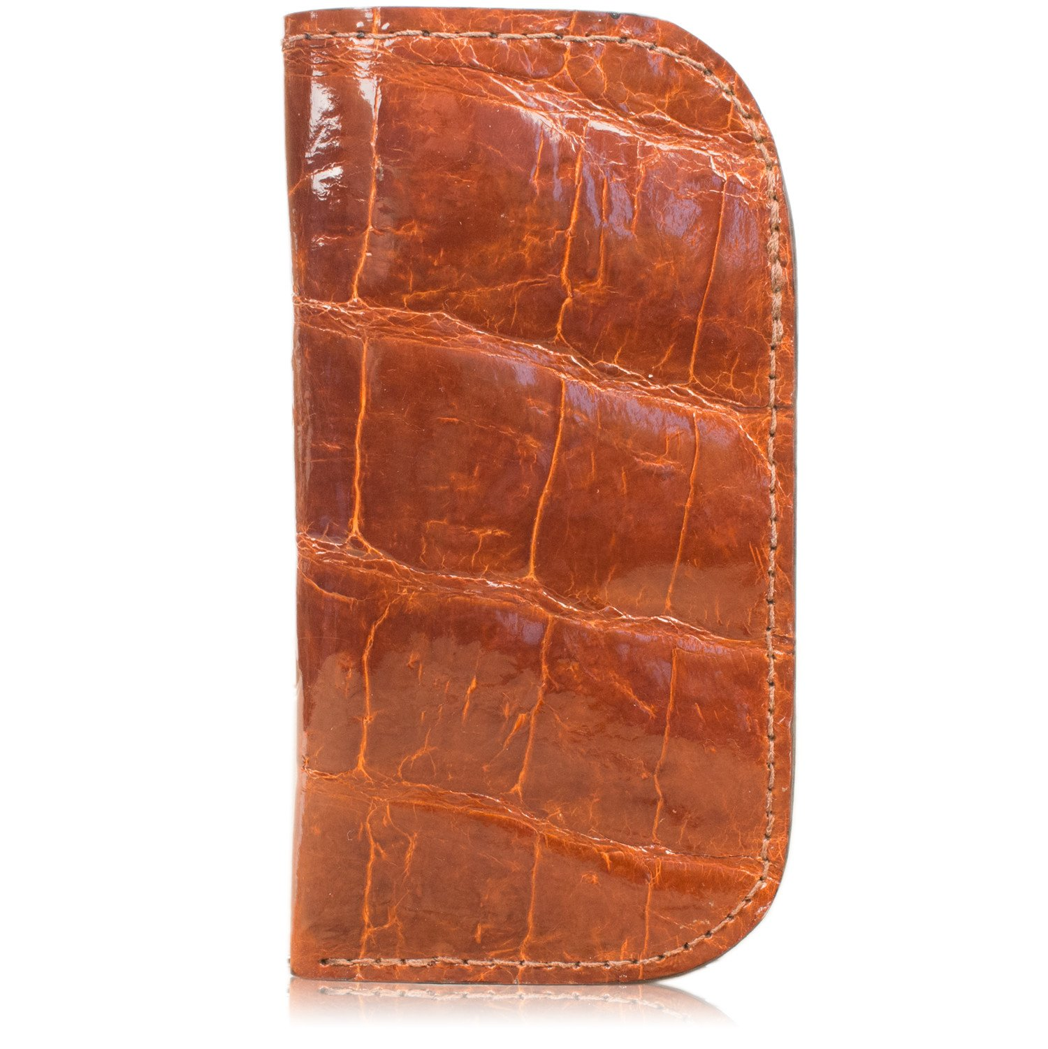 Genuine American Alligator Leather Soft Glasses Case Handmade (Cognac) by Yoder Leather Company