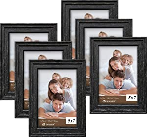 Picture Frames 5x7 Black (set of 6 Pack) - Rustic Farmhouse Wooden Frame - Photo Frame with Polished High Definition Glass for Table Top and Wall Mounting