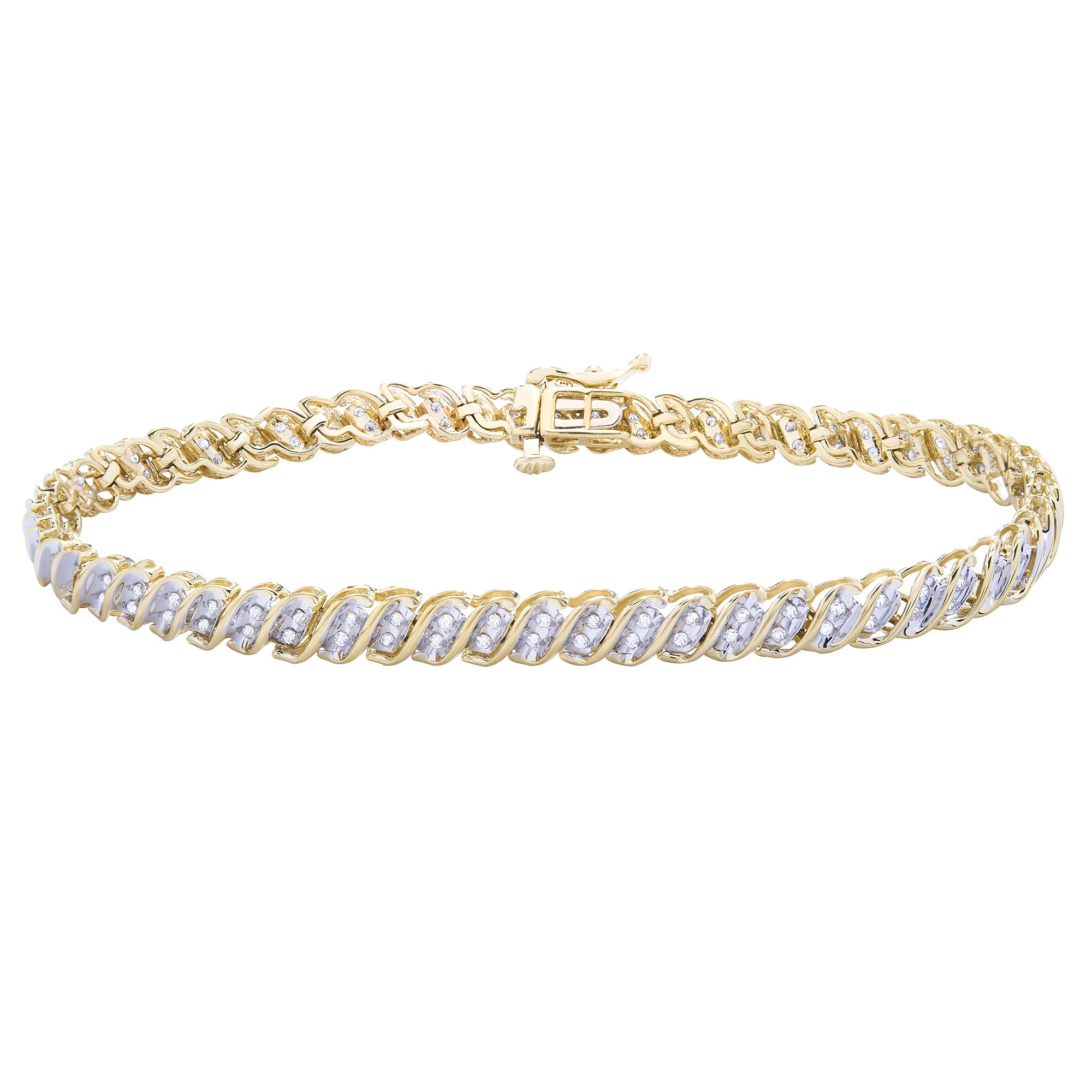 "14K Yellow Gold & 1/2 CTTW Diamond (HI/I1) ""S"" Bracelet 7.5''"