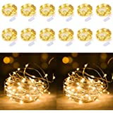 12 Pack 20 Mini Leds String Lights, 7.2Ft Waterproof Copper Wire Fairy Lights Battery Operated(Included), for Christmas Bedroom Patio Dorm Room Outdoor Wedding Party Decorations(Warm White)