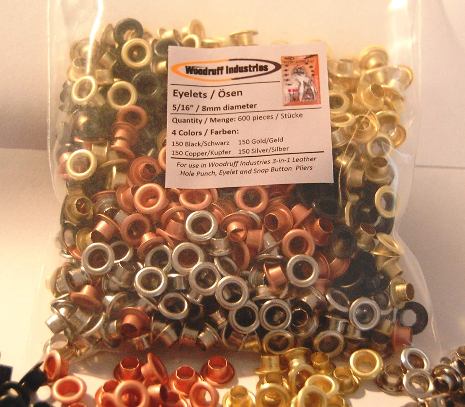 "600 (150 of each colour: BLACK, COPPER, GOLD, SILVER) eyelet pieces 8mm (5/16"") finished size 